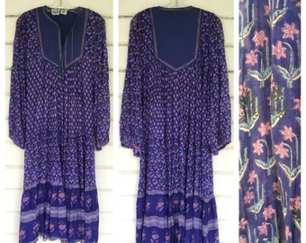 VINTAGE 70s purple INDIA gauze quilted dress