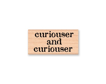 curiouser and curiouser Rubber Stamp~Alice in Wonderland~Chesire Cat~Curious~Card Making~Wood Mounted Stamp~Mountainside Crafts (35-14)