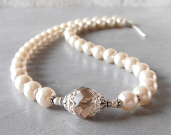 Ivory Pearl Necklace Bridal Jewelry Champagne Crystal Bridesmaid Jewelry Beaded Necklace Pearl Strand Gift for Mother of the Bride Handmade