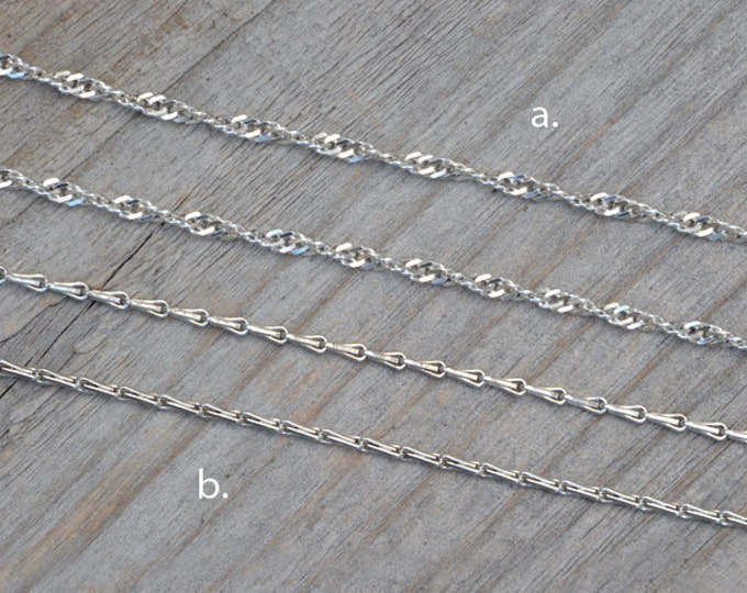 "Barleycorn Chain And Twisted Curb Chain In Sterling Silver,  14"", 16"", 18"", 20"", 22"", 24"", 30"" Handmade In England"