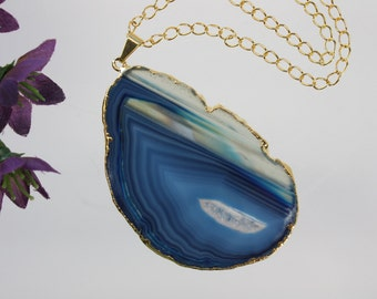 Blue Agate Pendant, Agate Necklace, Agate Slice, Agate Pendant, Boho Jewelry, Gold Plated Agate, Layered Necklace, Boho Necklace, APS58