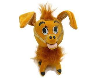 1967 Vintage Stuffed Animal Kamar Donkey Toy Doll Harvest Gold Sawdust Plush Faux Fur Wire Japan PeachyChicBoutique
