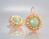 Aquamarine Jewelry, Aquamarine and Coral Round Mandala Earrings in 14K Gold Filled and Silver, Aquamarine Gold Earrings, Summer Jewelry