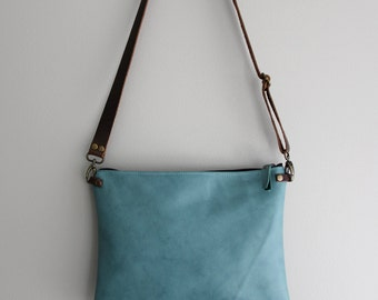 Aqua Teal Blue Leather Purse Clutch