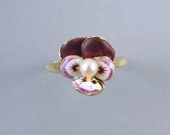Signed Larter & Co antique Edwardian 14k gold enamel pansy pearl ring