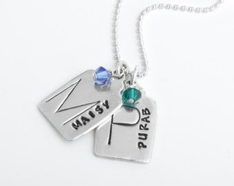 Gift for Mothers Mom Grandmother Nana Name Charm Initial Birthstone Necklace in Sterling silver. Personalized Customized Hand Stamp