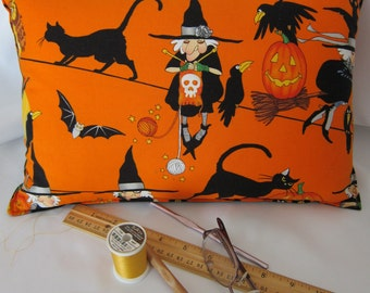 TRAVEL or ACCENT PILLOW - Knitting Witch / Satin Back With Faux Down Insert - Free Shipping thru 8/4