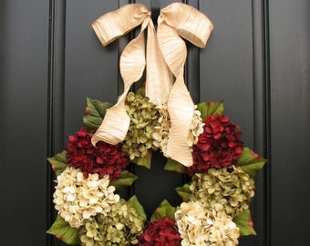 Red, Cream and Green Hydrangea Holiday Wreath (17 inch to 26 inch)