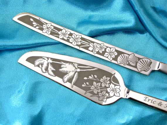 Wedding Gift Knife Set : ... Knife Set, Engraved Gift Destination Wedding Set, Palm Tree Gift for