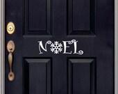Christmas decal - Noel Front Door Decal - Snowflake Door Decor -Holiday Decal - Window Decor