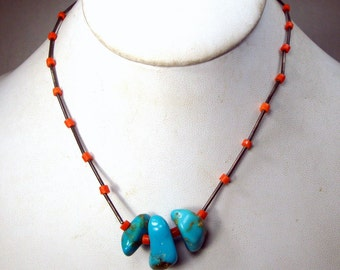 Vintage Turquoise Nugget Choker, Native American Necklace w Liquid Silver Tube Beads n Coral Glass Beads, 1970s Sterling, Cowgirl Southwest