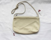 1970s Soft Deerskin Leather Purse | Vintage 70s Natural Leather Crossbody Bag | Vintage Cream Leather Minimalist Purse