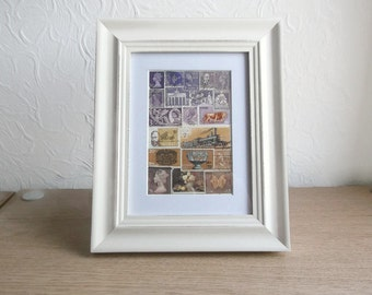 Moody Landscape, Small Framed Postage Stamp Wall Art - Upcycled Stamps