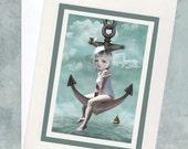 Sailor Girl Art Card -  Greeting Card & Envelope - Sailor Girl And Anchor - Raising The Anchor
