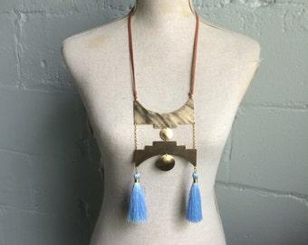 Step Pyramid Chest Plate. Blue Tassel Necklace. Brass Statment Necklace. Serenity Blue Tassel. Brass Statement Necklace. Boho Tribal Modern