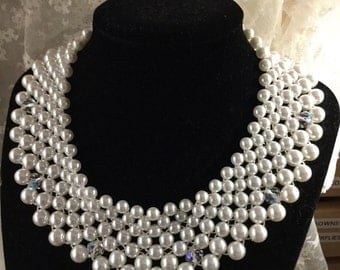 Bright White Wedding Worthy Faux Pearl and Crystal Bib Necklace