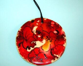 Floral Print Ceramic Ornament - Hanging Home Décor – Red Flowers – Alcohol Ink Art – Garden Design