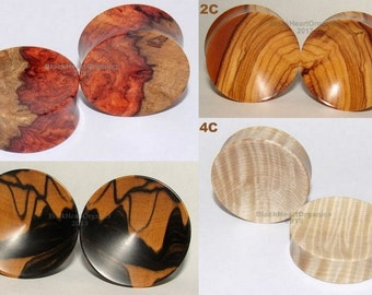 "Custom Wood Plugs, Concave Examples / Organic Jewelry / (0g through 3"" +) (8mm through 76mm + ), Hand Crafted, EXAMPLES of CUSTOM WORK"