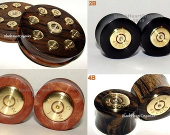 "Custom Wood Plugs, Bullet Shell Casing Inlay Examples / Organic Wooden Ear Jewelry  (0g through 3"" +) (8mm through 76mm +), Ammo Inlays"