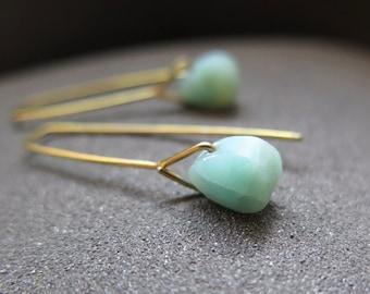 modern amazonite earrings. yellow gold niobium earings. hypoallergenic jewelry.