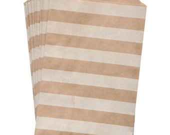 "25 Medium Kraft Bags with White Horizontal Stripes . 5"" x 7.5"" for Favors, Candy, Gift Wrap, Packaging, Envelopes"