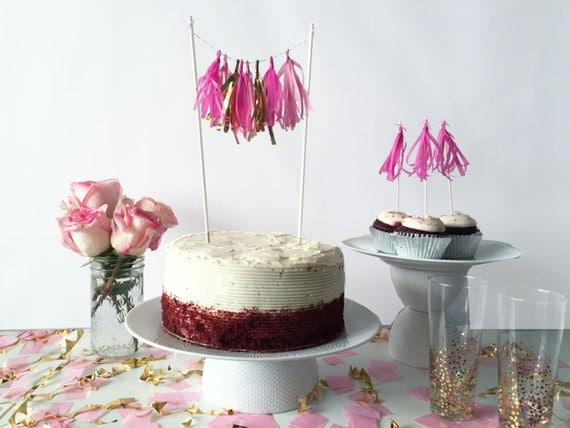 Mini-Tassel Cake Topper - Pinks