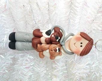 Handmade Christmas Ornament - Gift for Veterinarian - Veterinarian Christmas Ornament  - Dog Doctor Gift - Clay Veterinarian Ornament - 8176