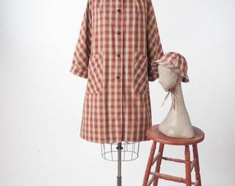 50s Checkered Raincoat with Rain Cap, Vintage Two Piece Set, Back to School Swing Coat