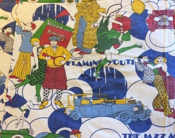 Vintage Roaring 20's The Jazz Age Bedspread with Charleston Dancers, Cars, Fashion Cotton Fabric