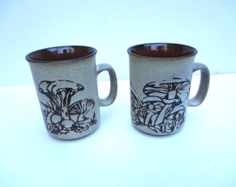 2 Vintage Mugs Cups Mushroom Designs Light Discoloration Around Handles 4 Inches Tall X 3 Inches Wide Not Including Handle Ceramic