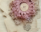 DIY doily brooch kit - hand dyed vintage textiles - antique mother of pearl button - flora musk