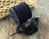 Black Faux Suede Leather Cord, 15 feet bundle (5 yards) / Microfiber, Vegan Suede, DIY Cord Supplies, Faux Suede Cord, Supplies