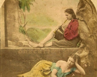Risque - Love and Music - Hand Tinted Real Photo Stereoview