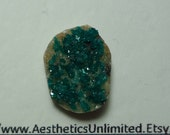 5 Carat DIOPTASE Natural Teal Blue Green Oval Shape Cut Druzy Crystal Cabochon From Kazakhstan Sale