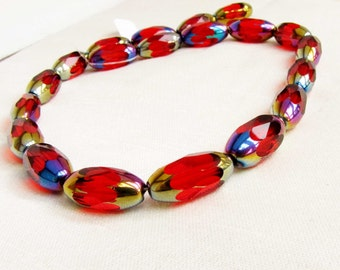 Vintage Faceted Red beads  Oblong Red Translucent Beads iridescent beads One Strand of Beads