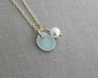Genuine sea glass necklace with Swarovski crystal pearl and 14k Gold Filled chain,Beach Glass necklace, Simple summer jewelry