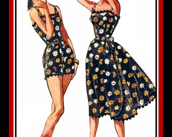 Vintage 1958-PIN-UP PLAYSUIT-Sewing Pattern-One Piece Romper-Full Flare Side Wrap Skirt-Jumbo Rick-Rack Trim-Uncut-Size 16-Rare