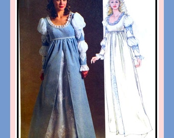 RENAISSANCE PRINCESS GOWN-Costume Sewing Pattern-Empire Waist-Gorgeous Sleeve Detail-Feminine Lace-Ribbon Lacing-Uncut-Size 14-20-Rare