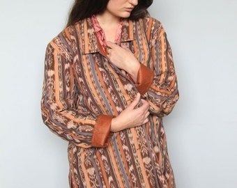 the desert in ikat -- vintage 80s gorgeous oversized ikat jacket M/L