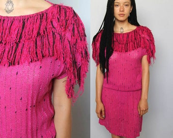 the correa dress -- vintage 80's fringed handwoven dress size S/M