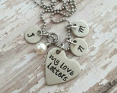 Custom hand stamped, Personalized, JBK, love letters necklace