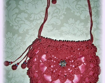 Silk Crochet Evening Bag Clutch Purse - Country Rose #45 with brocade lining Swarovski Crystals