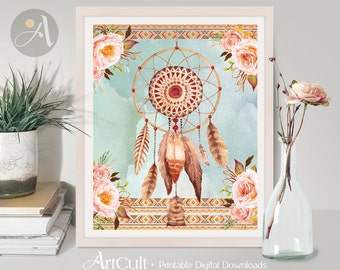"""Printable Artwork, Boho TRIBAL DREAM CATCHER watercolor flowers, feathers 8""""x10"""" size digital Download teen room art Home Decor by ArtCult"""