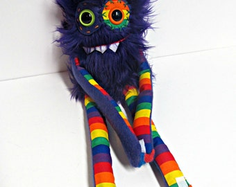 Monster Plush in Purple - Handmade Cute Plush Monster - OOAK Toy Monster - Hand Embroidered Faux Fur Monster - Rainbow Monster - Weird Toy
