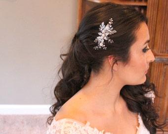 Bridal hair clip, Wedding hair comb, Crystal hair clip, Bridal hair vine, Swarovski crystal hair comb, Wedding headpiece, Antique silver