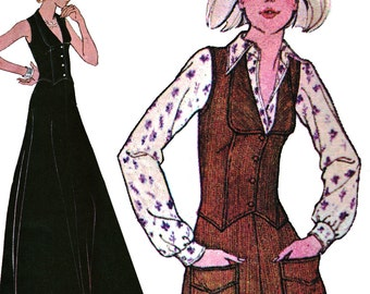 Low-Cut, Fitted Vest and Maxi Skirt! Vintage ©1975 McCall's Sewing Pattern 4801, Misses' Unlined Vest, Skirt and Pants, Size 16, Uncut