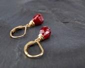 Ruby dangle earrings, ruby drop earrings in gold, simple handmade jewelry, July birthstone - Rouge