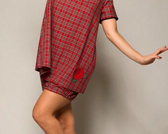 Red Tartan Nightdress and Shorts Pyjama Set, Christmas Sleepwear, Retro Loungewear, Sizes XS-XXL