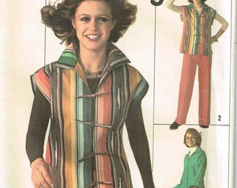 Jacket Drop Shoulders Collar Side Slits Pants Vintage 1970s Simplicity 7614 Jiffy Sewing Pattern Size 12 Bust 34