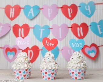 Valentines Party Printable Decor Kit Instant download cupcake wrappers, Happy Valentine's Day heart shaped Banner, and Cupcake toppers DIY